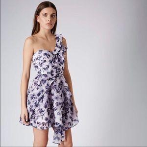 TOPSHOP Floral Asymmetric Ruffle Mini Party Dress